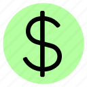 circle, currency, dollar, money, round, user interface, web icon