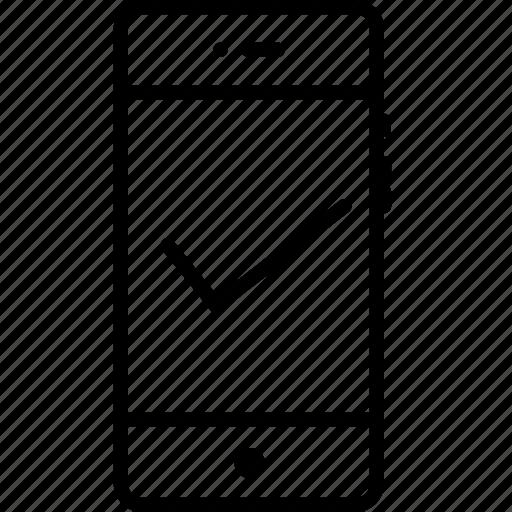 mobile, right, tick, true, trust, verify, wright icon