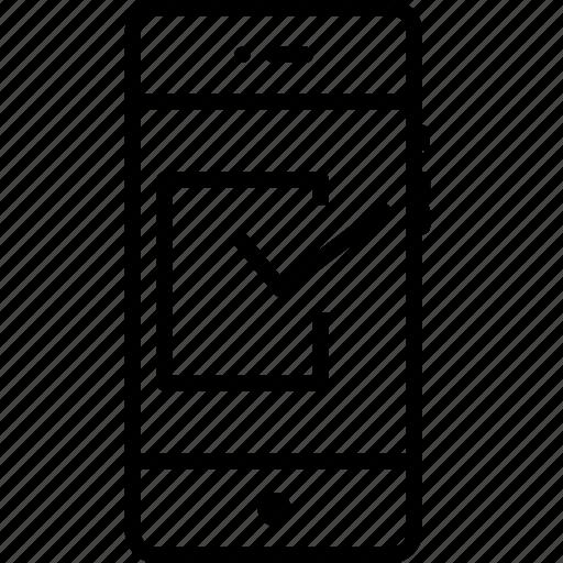 mobile, right, tick, true, trust, verify icon