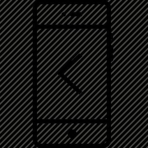 arrow, backword, direction, left, mobile, previous, way icon