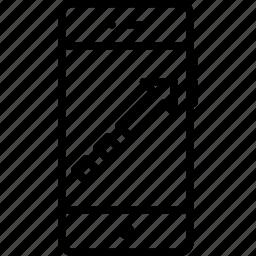 arrow, boost, fashion, increase, mobile, square, way icon