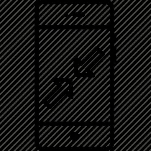 arrow, minimum, mobile, resize, small icon