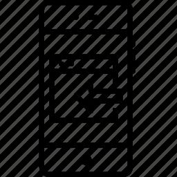 arrow, export, in, left, mobile, window icon
