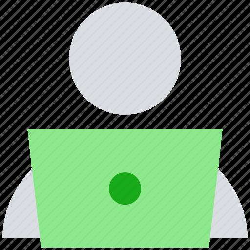 developer, employee, laptop, male, user, work icon
