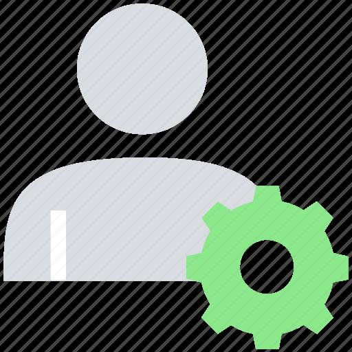 cogwheel, gear, male, people, person, user icon