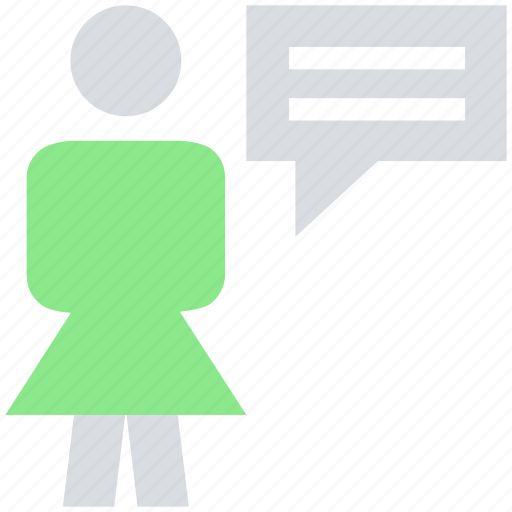 chat, female, message, stand, support, talk, user icon