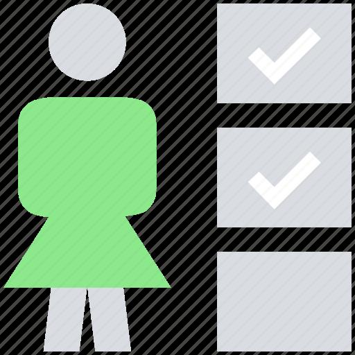 female, people, person, profile, stand, tick mark, user icon