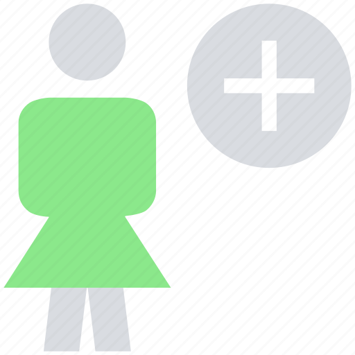 add, female, people, person, plus, stand, user icon