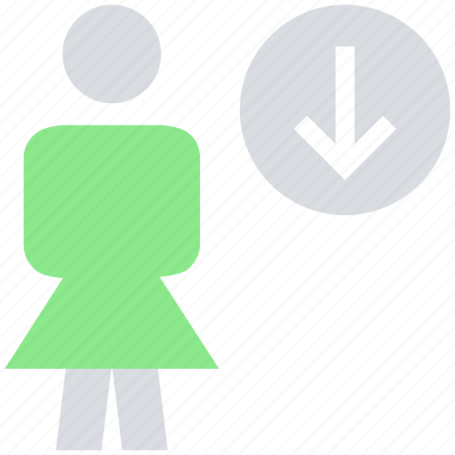 down arrow, downloading, female, people, person, stand, user icon