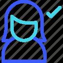 approve, avatar, female, profile, user, woman icon