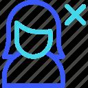 avatar, delete, female, profile, user, woman icon