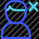 avatar, delete, male, user icon