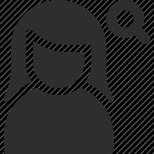 female, search, user, woman icon