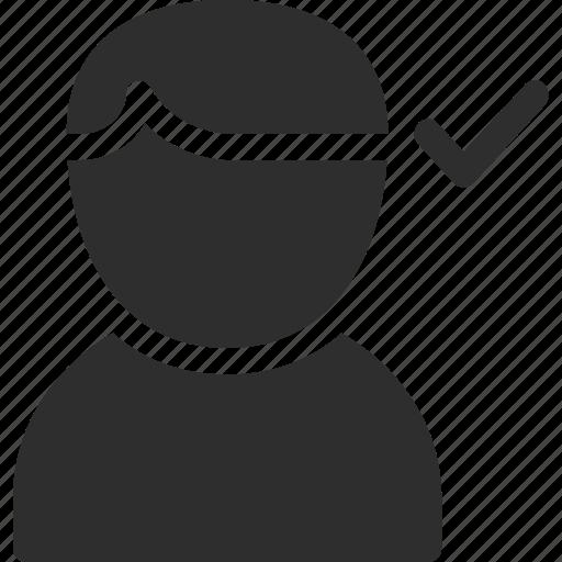 approve, male, profile, user icon