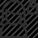 female, lock, user icon
