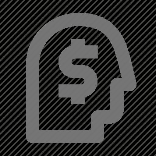 dollar, money, user icon