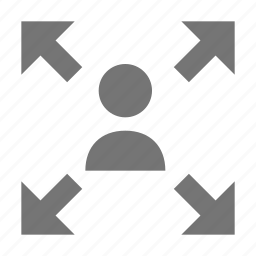 arrows, expand, person, user icon