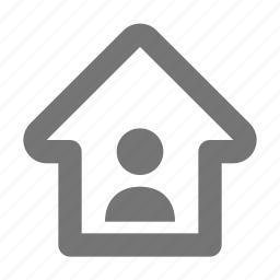 arrow, home, house, person, up, user icon