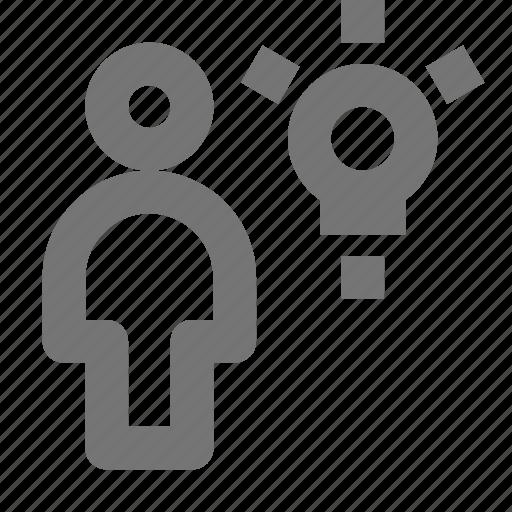 bulb, lightbulb, person, user icon