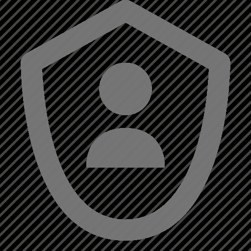 person, shield, user icon