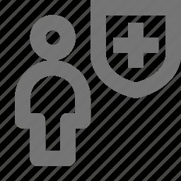 person, security, shield, user icon