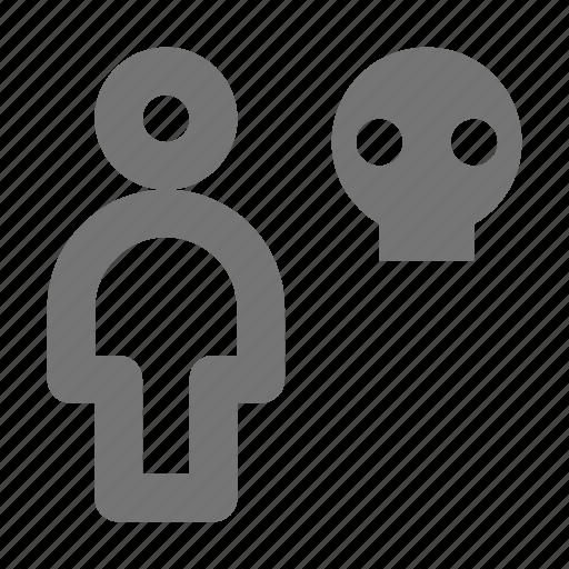 person, skull, user icon