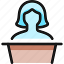 woman, single, podium