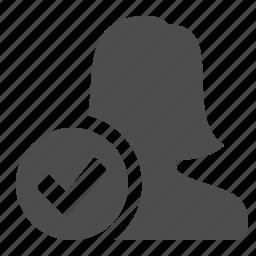 blog, checkmark, communication, female, person, silhouette, user, users, web, woman icon