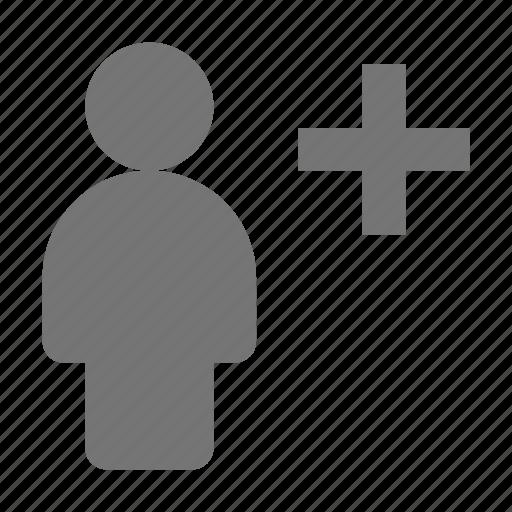 add, new, plus, user icon