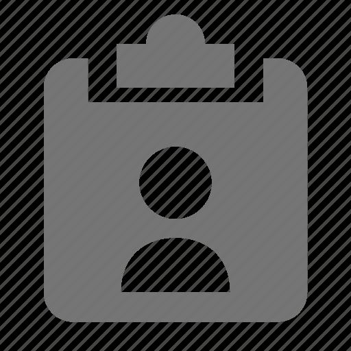 clipboard, user icon