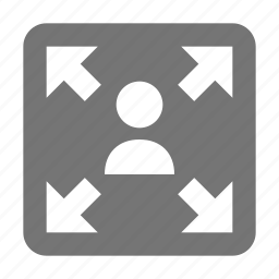 arrows, expand, user, zoom out icon
