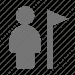 flag, user icon