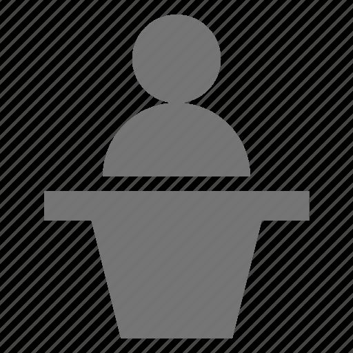 desk, reception, user icon