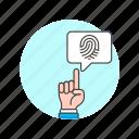 bubble, fingerprint, users icon