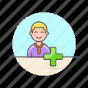 3, add, caucasian, male, user, users icon