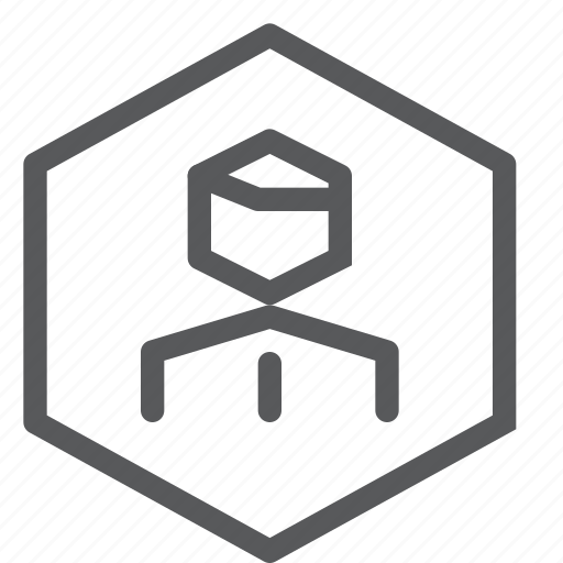 account, action, avatar, hexagon, profile, user icon