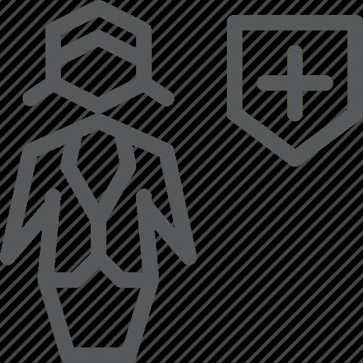 account, avatar, business, female, health, profile, shield, user icon