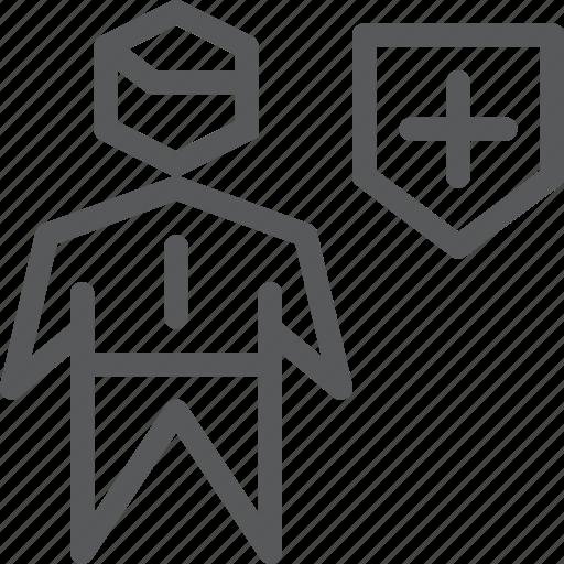 account, avatar, business, health, male, profile, shield, user icon