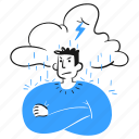 being, in, bad, mood, user, angry, upset, annoyed, irritated, cloud, rain, stormy, man, mad icon