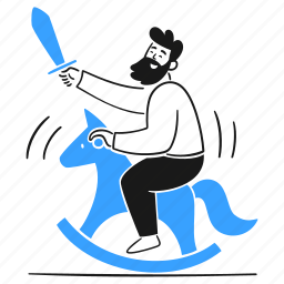 being, silly, crazy, user, wooden, horse, toy, sword, childish, joke, absurd, ridiculous