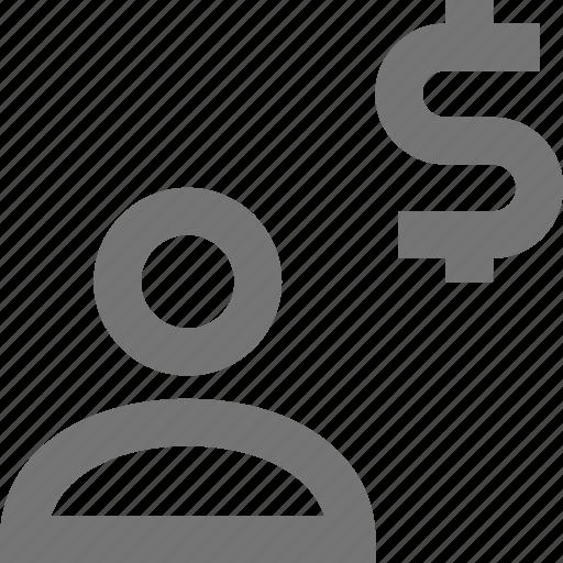 dollar, money, profile, user icon