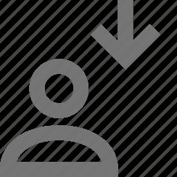 arrow, down, download, profile, user icon