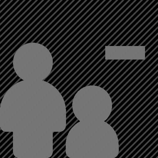 minimize, minus, users icon