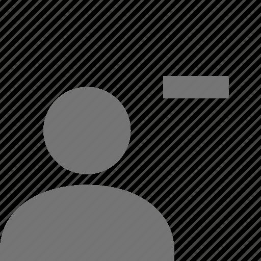 minimize, minus, user icon