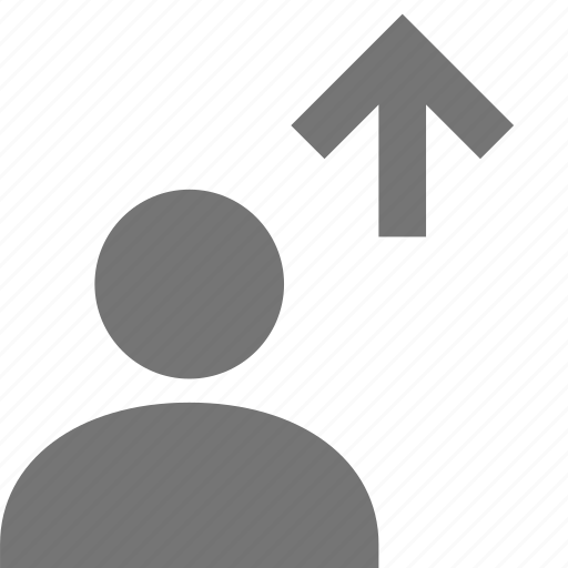 arrow, up, upload, user icon