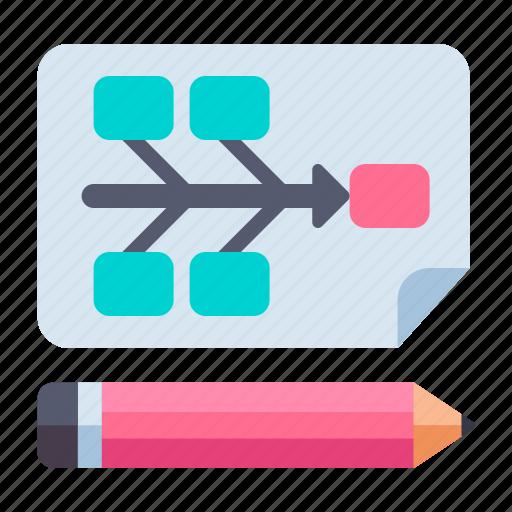 chart, diagram, fishbone, ux and ui icon