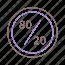 80/20, rule, ui, ux icon