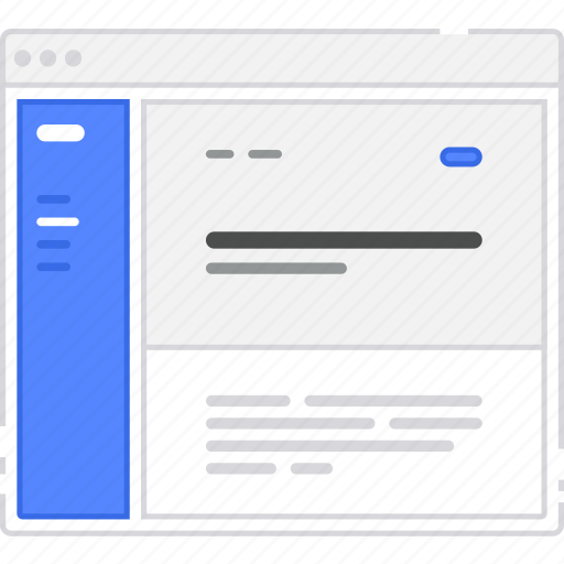 browser, card, flowchart, homepage, left, sidebar, sitemap, wireframe icon