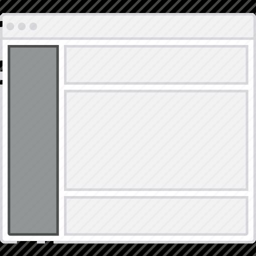 browser, card, column, flowchart, layout, left, sidebar, sitemap icon