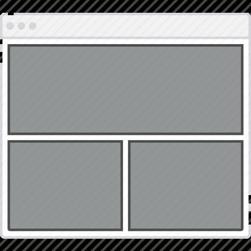 browser, card, column, flowchart, grid, layout, sitemap, web icon